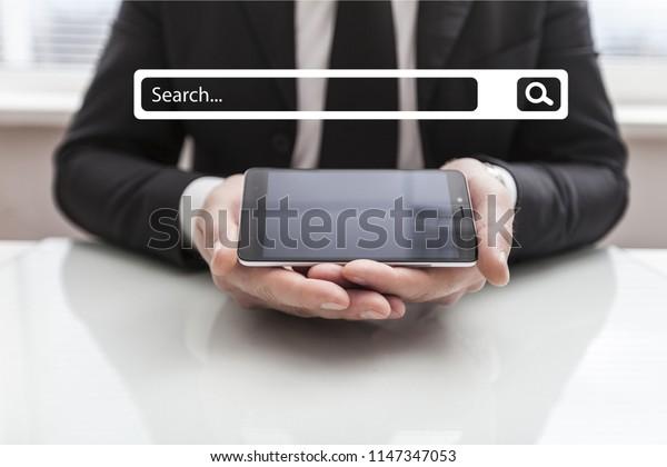 businessman using Searching Browsing Internet internet of