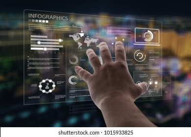 Businessman using smart illustration