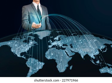 businessman using smart phone connecting to the world