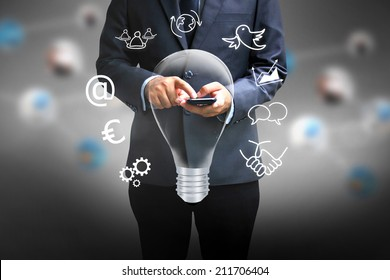 Businessman using a smart phone.business ideas