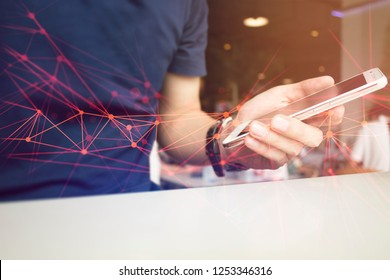 businessman using smartphone mobile in coffee shop conecting to social network technology internet online server ai for application shopping, cyber security, big data website, marketing on devices