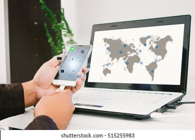 businessman using smartphone upload data to online store Documentation over blurred Distributed threat information to clients for customer network connection. technology.select focus.Film Grain style.