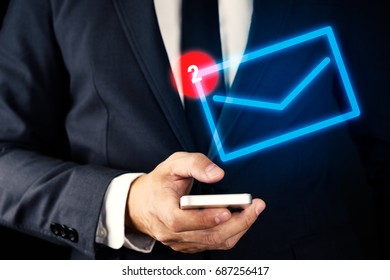Businessman using Smartphone with Visual message notification