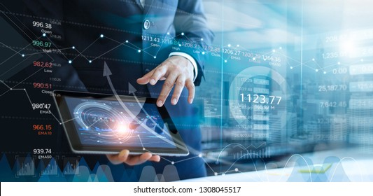 Businessman using tablet analyzing sales data and economic growth graph chart. Report. Business strategy. Abstract icon. Stock market. Digital marketing.