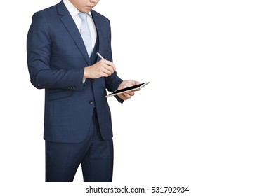 Businessman using tablet computer. With isolated white background and clipping path.