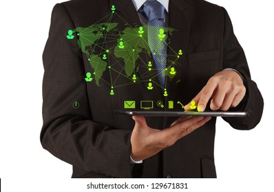 businessman using tablet computer shows social network concept
