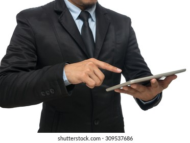 Businessman using the tablet on white background, include clipping path