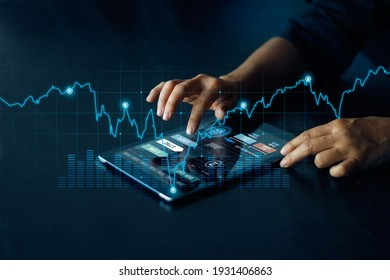 Businessman using tablet online banking, exchange currency and payment, Digital marketing, Finance and banking networking,  Investment of growth on currency rate, Online shopping