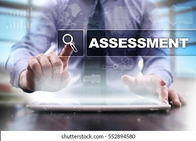 Businessman using tablet pc and selecting assessment.