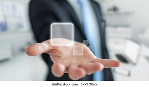 Businessman using tactile interface web address bar to surf on internet 3D rendering