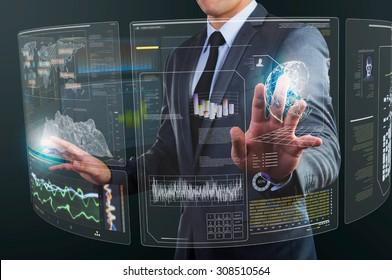 businessman using technology interface