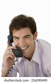 Businessman using telephone, cut out