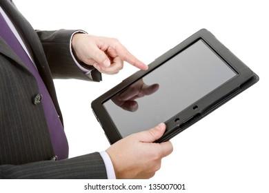 businessman using touch pad, close up shot on tablet pc, isolated