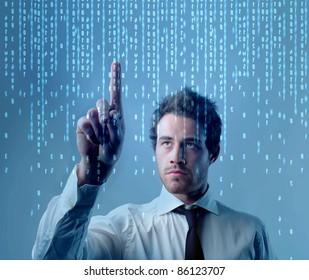 Businessman using a touchscreen