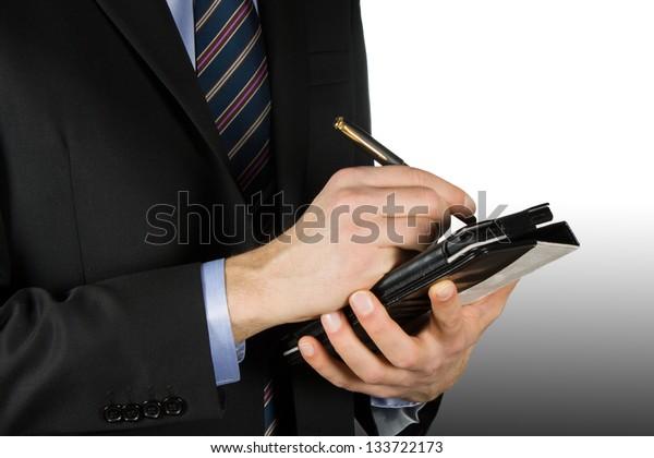 Businessman using a touchscreen device