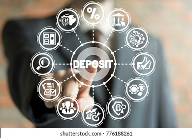 Businessman using virtual touchscreen presses deposit text button. Deposition Financial Banking Investment Business concept. Finance Security. Deposit Account.