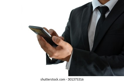 BUSINESSMAN USING YOUR SMARTPHONE TO SEE SEVERAL OPTIONS