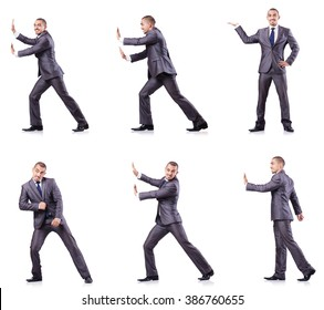 Businessman in various poses isolated on white