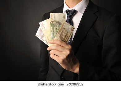 Businessman with a wad