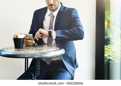 Businessman Waiting Coffee Break Concept