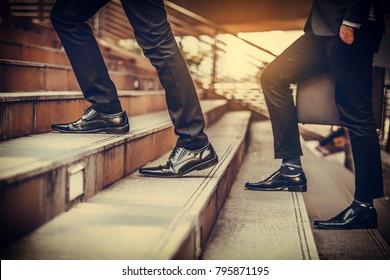 businessman walk up stair at Street City Centre ,Business Concept.