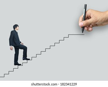 Businessman walk to success
