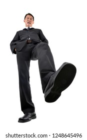 businessman walking cross. Low-angle shot.