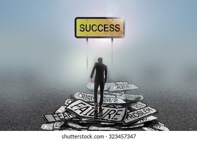 businessman walking in the mist on problems to goal,success concept