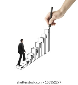 businessman walking on drawing ladder