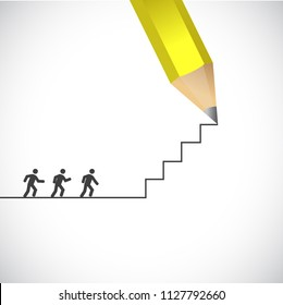 Businessman walking on stairs. career path. bussiness concept illustration. over a blue background