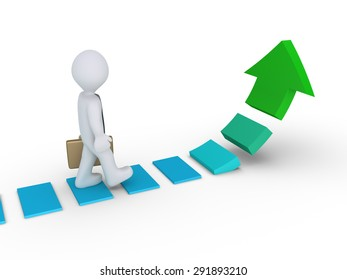 Businessman is walking on steps of a rising arrow path