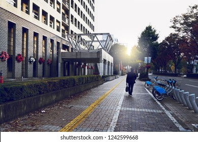 Businessman walking on the street with morning sun of the City.