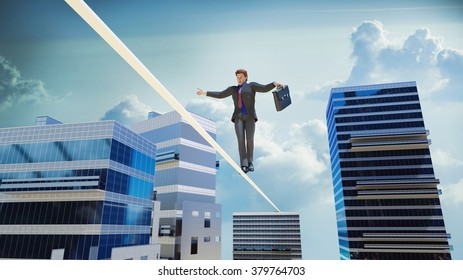businessman is walking on the tightrope between skyscrapers over the precipice 3D render
