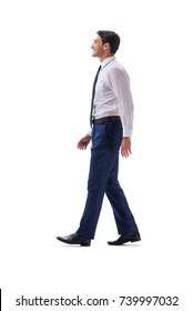 Businessman walking standing side view isolated on white backgro