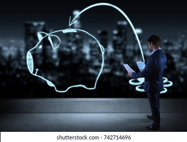Businessman watching a sketch piggy bank on a rooftop with a city view 3D rendering