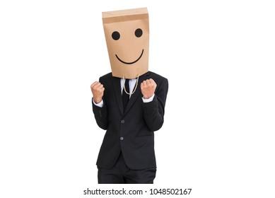 businessman wear paper bag covering head happy emotions