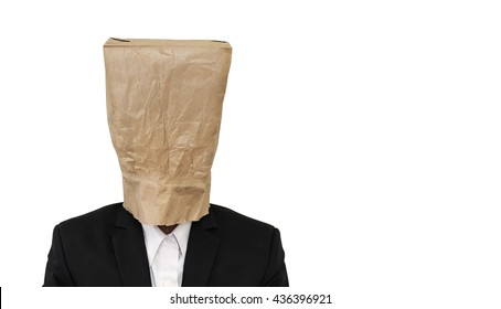 Businessman wearing brown paper bag, with copy space, isolated on white background