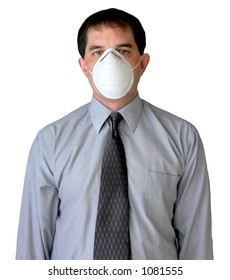 Businessman wearing a dust mask.
