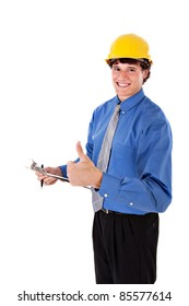 Businessman wearing Hard Hat with Thumb Up Sign Close-up