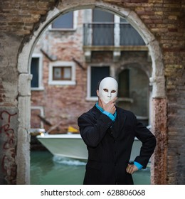 businessman wearing mask in Venice, Italy