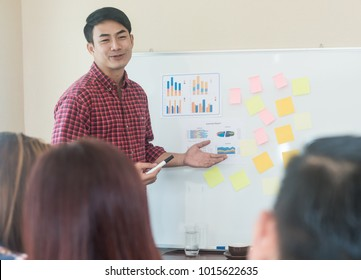 Businessman wearing plaid shirt presenting a new strategy to his colleagues and creating the next value,Portrait of  businessman pointing at graph on board and looking at his co-workers with smile,