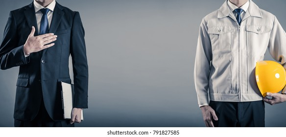 businessman wearing a suit and a work clothes man
