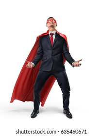 A businessman wearing superman cape and mask trying to lift up an invisible object from below. Business and success. Obligations and burdens. Hard work.