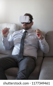 Businessman wearing virtual reality glasses
