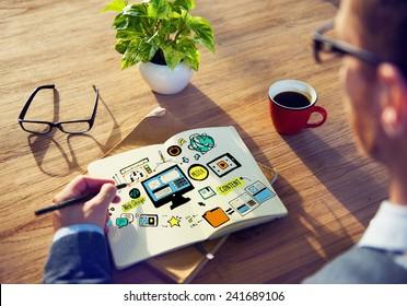 Businessman Web Design Planning Working Concept