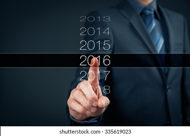 Businessman welcome year 2016. Business new year card concept.