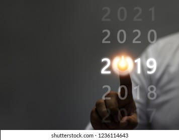 Businessman welcome year 2019. Business new year card concept