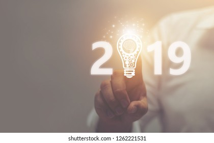 Businessman welcome year 2019. Business new year card concept . soft focus picture . Vintage concept