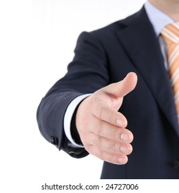 Businessman welcomes you. Isolated on white background.