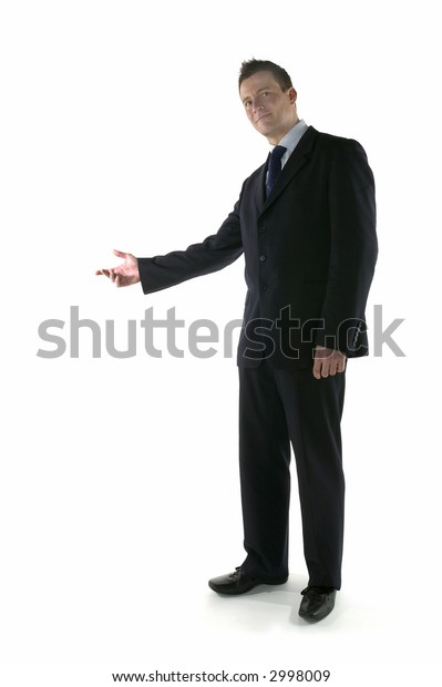 Businessman welcoming guests with an open gesture